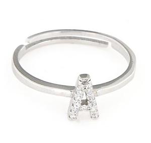 Anello regolabile con lettera zirconata personalizzata in argento 925%-0