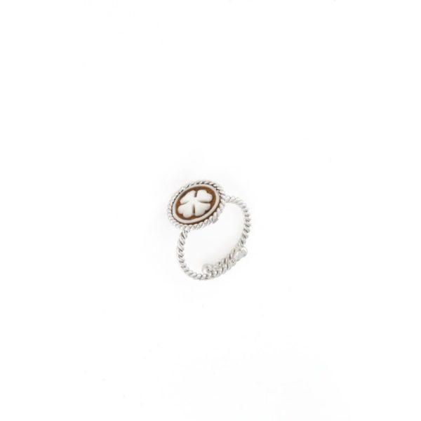 Anello regolabile intrecciato in argento 925% con cammeo sardonica quadrifoglio-0