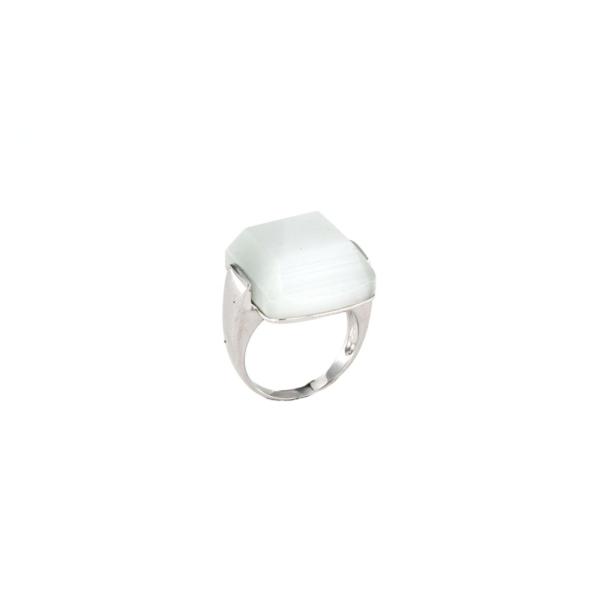 Anello in argento 925% con pietra di occhi di gatto -0