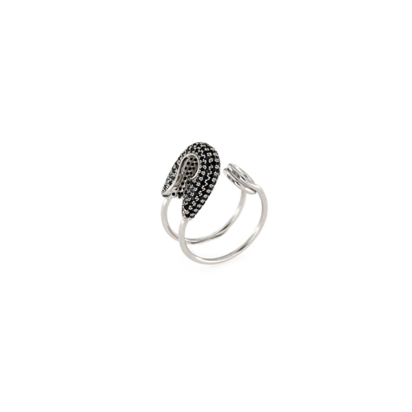 Anello regolabile in argento 925% con zirconi neri spilla-0