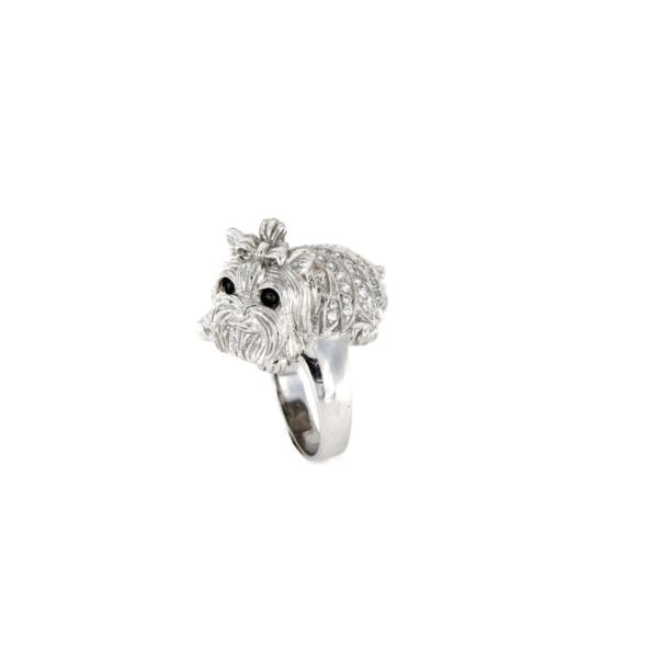 Anello in argento 925% con zirconi bianchi e neri cane-0