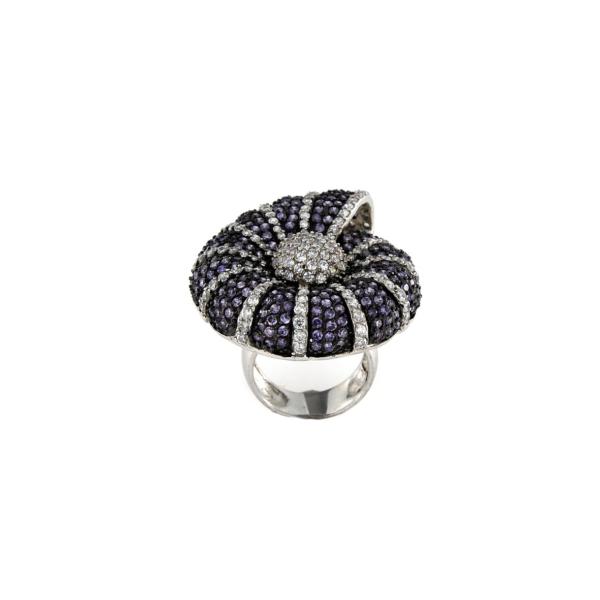 Anello conchiglia zirconata in argento 925% -0