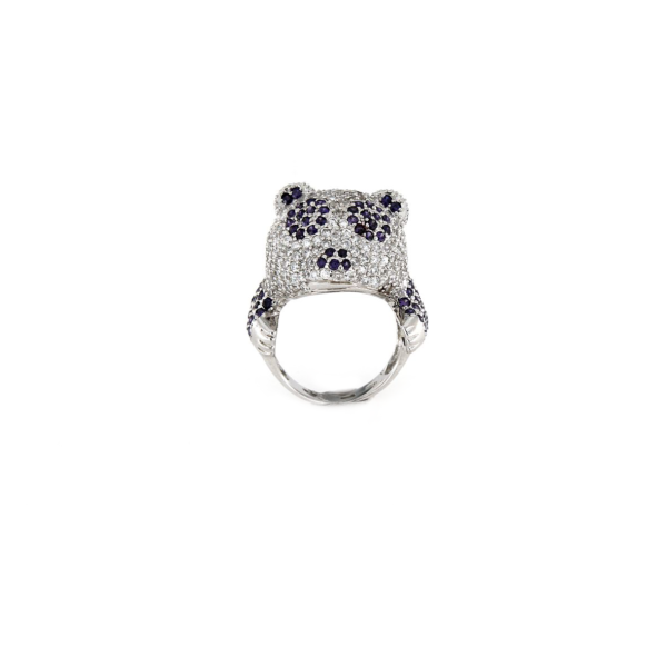 Anello in argento 925% con zirconi colorati panda-0