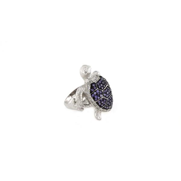 Anello tartaruga zirconata in argento 925% -0