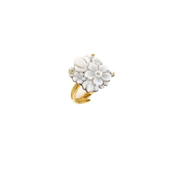 Anello regolabile in argento 925% con cammeo sardonica fiori-0