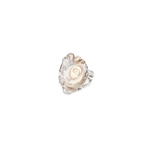 Anello traforato regolabile in argento 925% con cammeo sardonica rosa-0