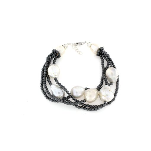 Bracciale regolabile con ematite e perle barocche in argento 925%-0