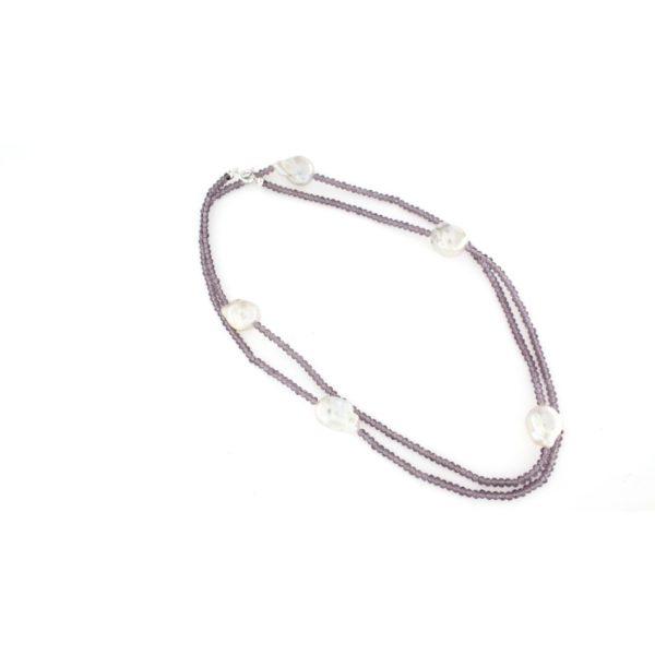 Collana lunga con pietre di ametista e perle barocche argento 925%-0