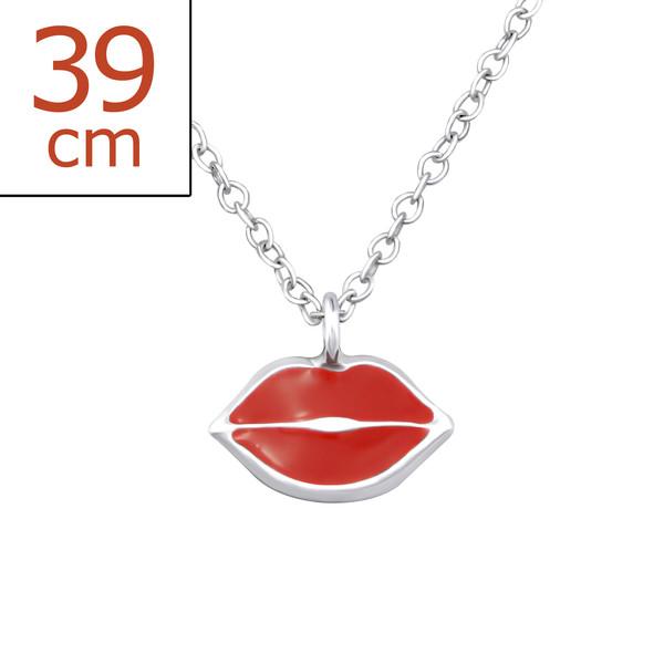 Collana bocca smaltata rossa in argento 925%-0