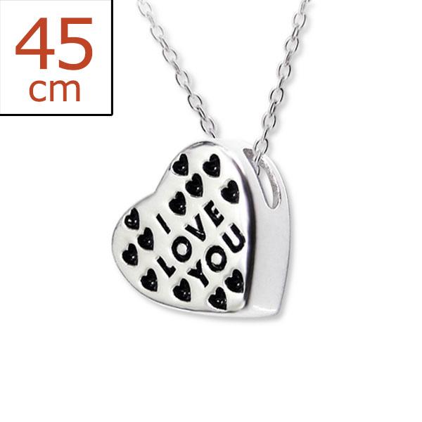 Collana in argento 925% con scritta sul cuore -0