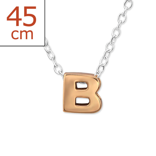 Collana in argento 925% con lettera B argento rosè-0