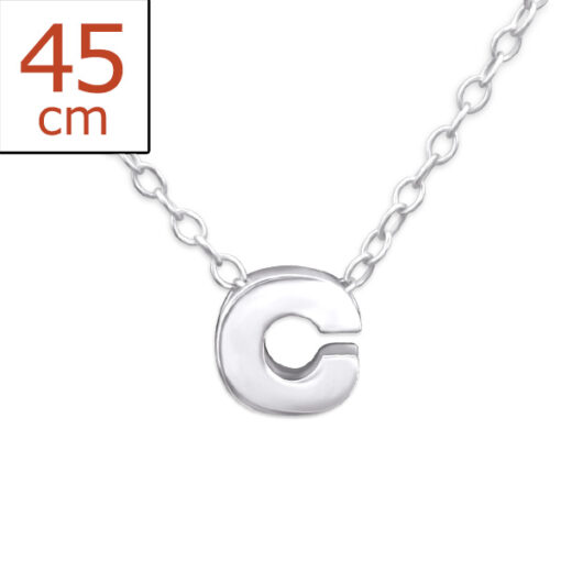 Collana in argento 925% con lettera C argento bianco-0