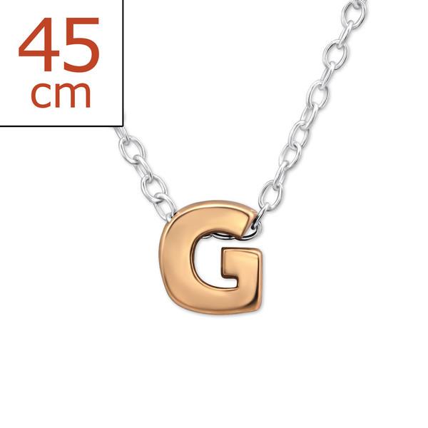 Collana in argento 925% con lettera G argento rosè-0