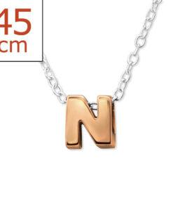 Collana in argento 925% con lettera N argento rosè-0