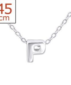 Collana in argento 925% con lettera P bianca-0
