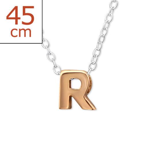 Collana in argento 925% con lettera R argento rosè-0