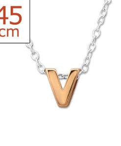 Collana in argento 925% con lettera V rose'-0