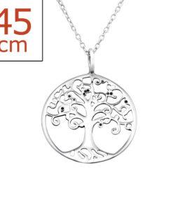 Collana in argento 925% con ciondolo albero della vita-0