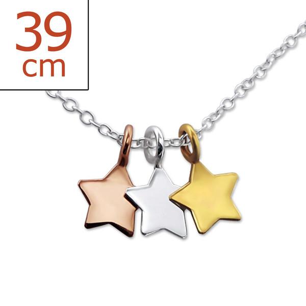 Collana in argento 925% con tre stelle pendenti-0