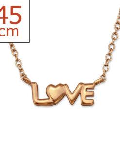 Collana in argento 925% con scritta love argento rosè-0