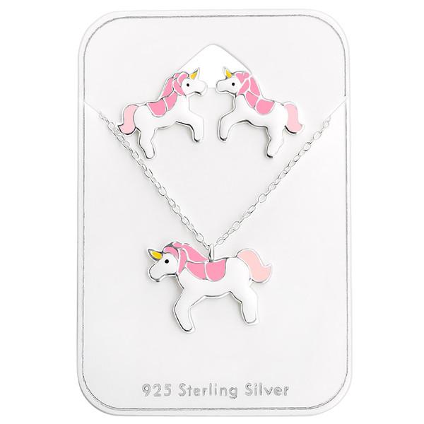 Collana e Orecchini in argento 925% con unicorno smaltato-0