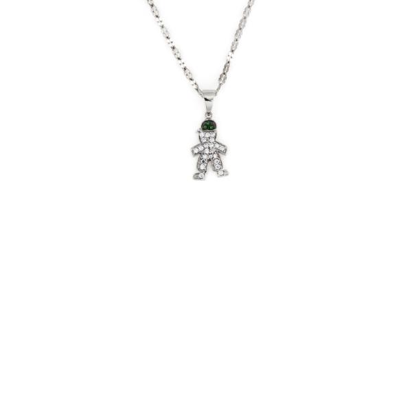 Ciondolo bimbo cappello con zirconi verde in argento 925%-0