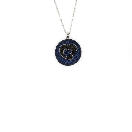 Ciondolo tondo con cuore con zirconi neri e blu in argento 925% brunito-0