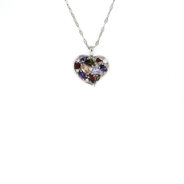 Ciondolo cuore traforato con zirconi colorati in argento 925% -0