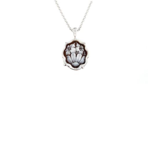 Ciondolo con cammeo sardonica e zirconi in argento 925% fiori-0