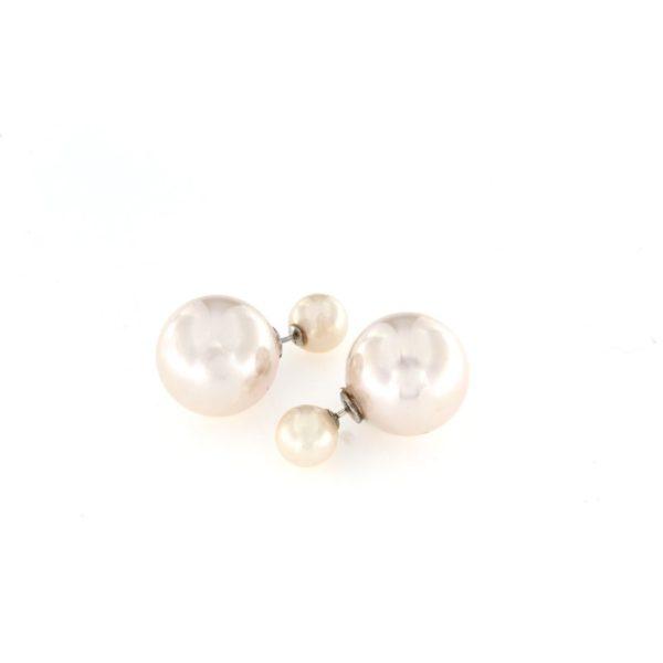 Orecchini a pressione in argento 925% con doppia perla rosa-0