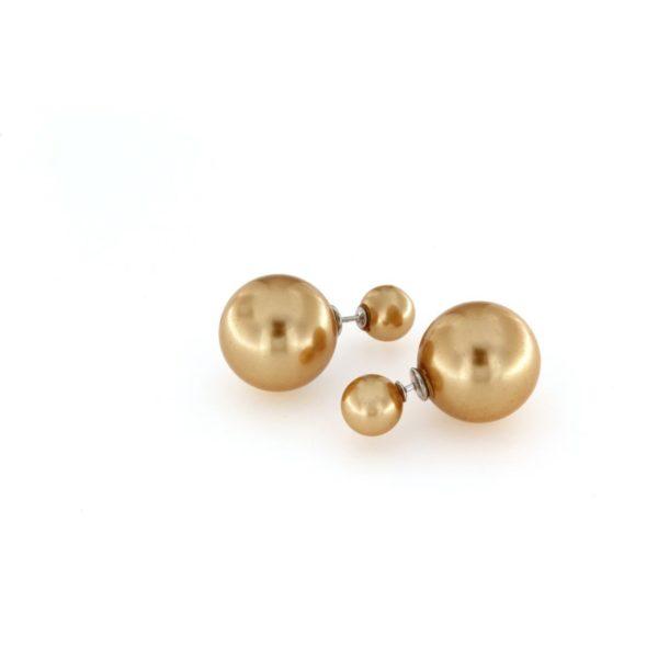 Orecchini a pressione in argento 925% con doppia perla bronzo-0