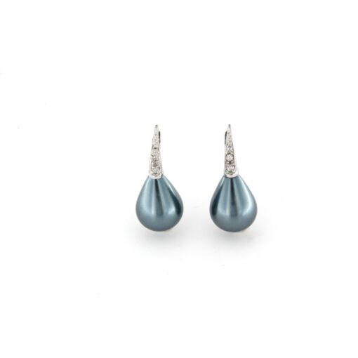 Orecchini monachina in argento 925% con perla grigia e zirconi-0