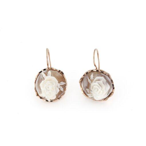 Orecchini pompeana in argento 925% con cammeo sardonica rosa-0