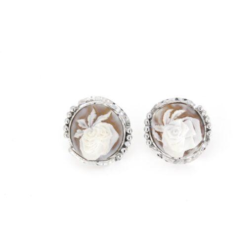 Orecchini a clip in argento 925%con cammeo sardonica rosa-0