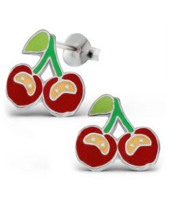 Orecchini in argento 925% con ciliegie smaltate-0
