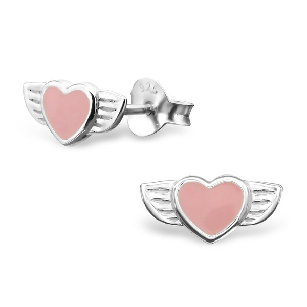 Orecchini a pressione in argento 925% cuore rosa smaltato-0