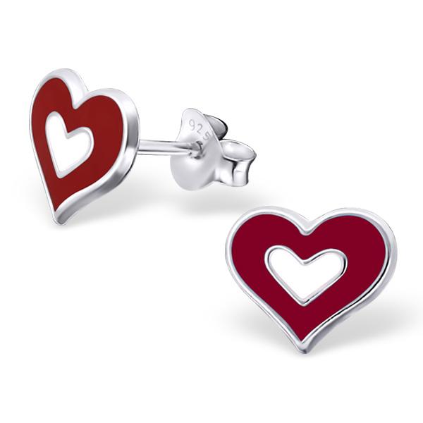Orecchini a pressione in argento 925% con cuore smaltato -0