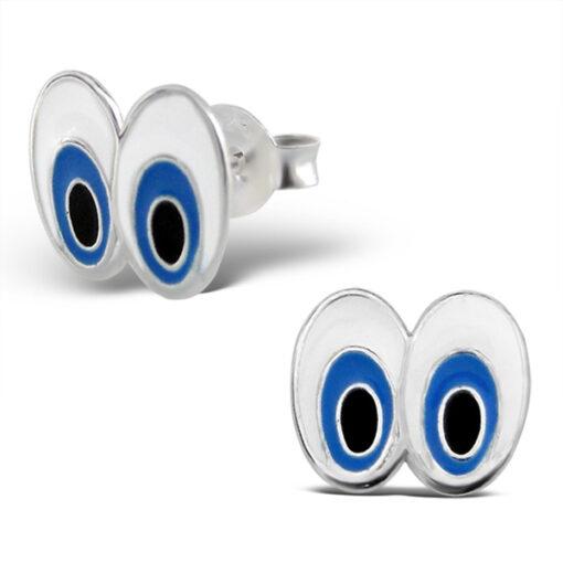 Orecchini a pressione in argento 925% occhi smaltati-0