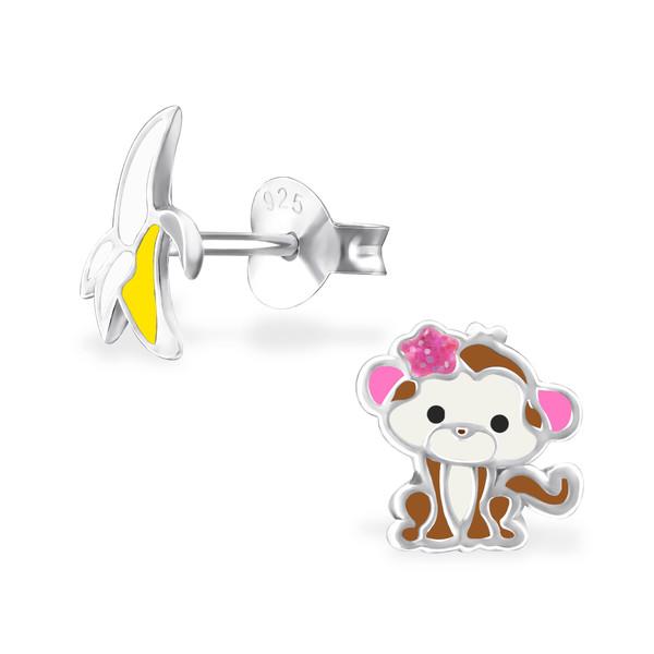 Orecchini a pressione in argento 925% scimmietta e banana-0