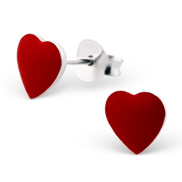 Orecchini a pressione in argento 925% con cuore rosso smaltato-0