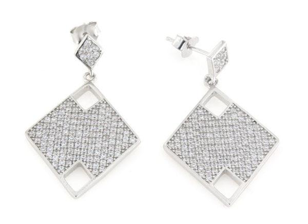 Orecchini pendenti in argento 925% rombi zirconati argento bianco-0