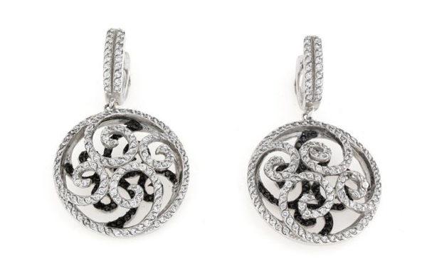 Orecchini clips e buco in argento 925% con zirconi bicolore nero e bianco-0