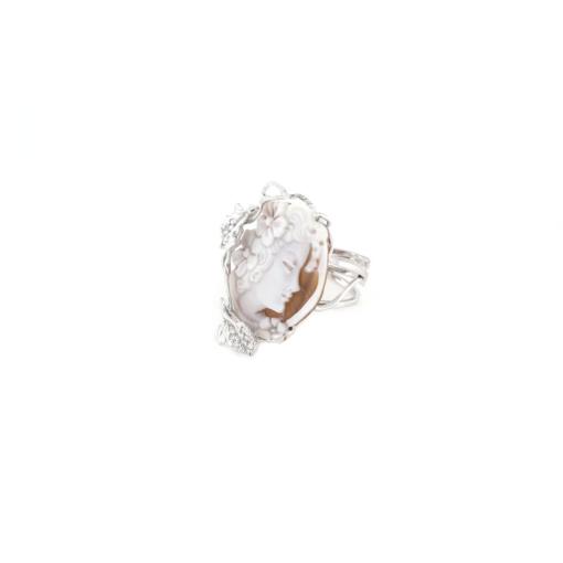 Anello regolabile in argento 925% con cammeo sardonica e zirconi -0