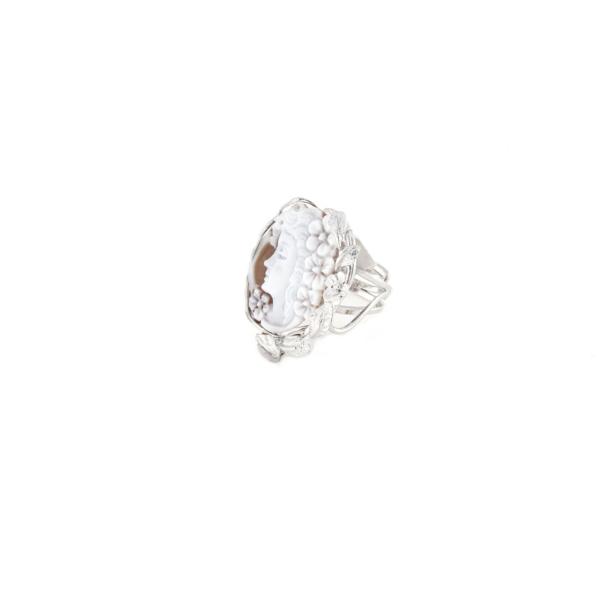 Anello regolabile in argento 925% con cammeo sardonica in argento bianco-0