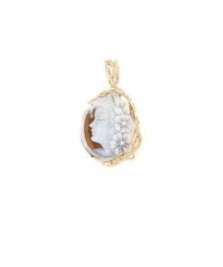 Ciondolo in argento 925% con cammeo sardonica argento dorato-0