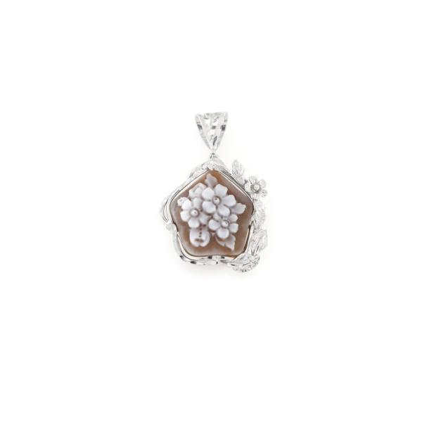 Ciondolo in argento 925% con cammeo sardonica argento bianco-0