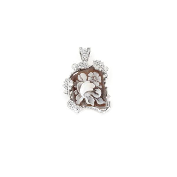 Ciondolo in argento 925% con cammeo sardonica e gancio zirconato argento bianco-0