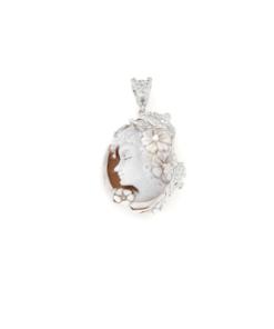 Ciondolo in argento 925% con cammeo sardonica e zirconi argento bianco-0