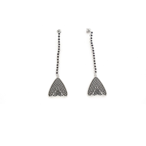 Orecchini pendenti in argento 925% triangolo con zirconi neri-0