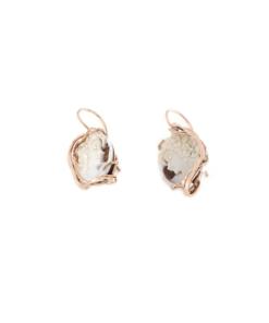 Orecchini pompeana in argento 925% con cammeo sardonica argento rosè-0